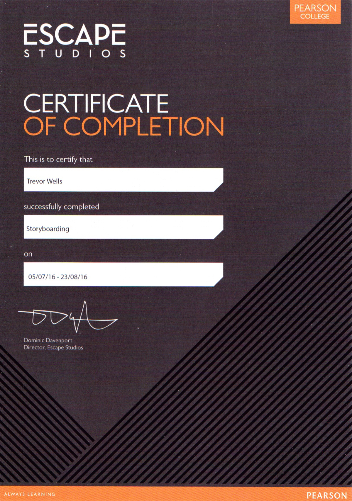 Escapee Storyboard Certificate